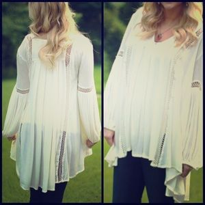 Free People Just the Two of Us White Tunic Blouse